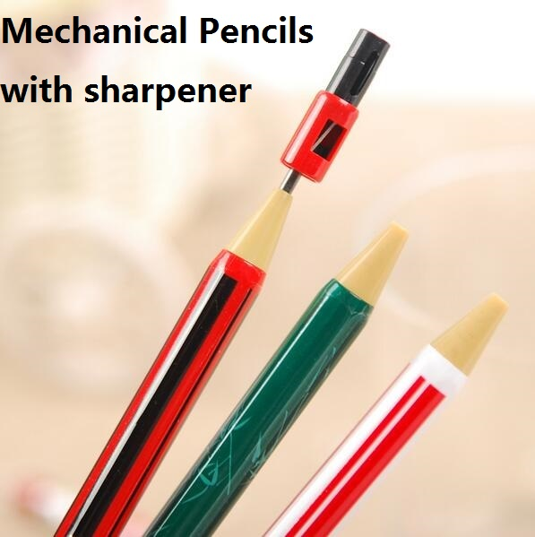 1pcs lot 2B Press Automatic Pencil Tricolor Pencil With Sharpener Drawing Pencil Non Toxic Papeleria School Office Supplies in Mechanical Pencils from Office School Supplies