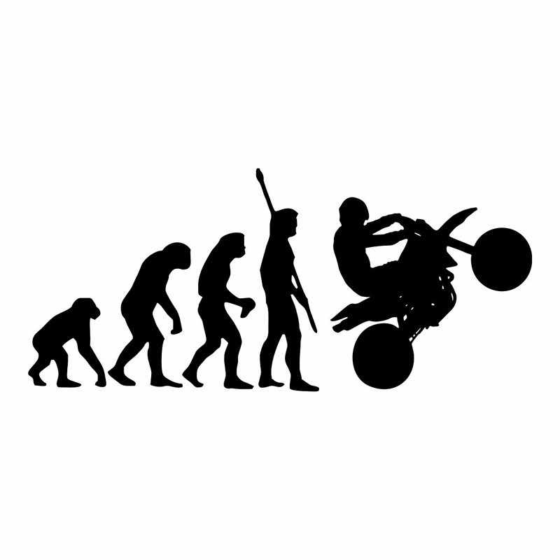 19.2*8.5 cm Sáng Tạo Xe Máy Dán Đen/Bạc Tiến Hóa Loài Người Xe Máy Xe Ô Tô Ngộ Nghĩnh Vincy Đề Can Tạo Kiểu Trang Trí