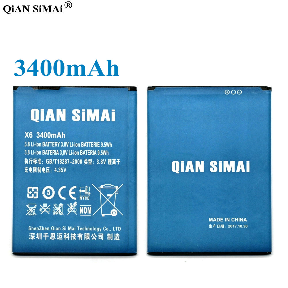 QiAN SiMAi 3400mAh High Quality Battery For DOOGEE X6 Pro Cell Phone Lithium-ion Batterij Bateria+ Tracking Code