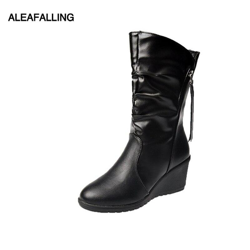 Frauen Schuhe Coolcept Größe 31-45 High Heel Frauen Stiefel Aus Echtem Leder Frau Schuhe Fell Warme Winter Knie Stiefel Mode Damen Schuhe Hohe QualitäT Und Preiswert
