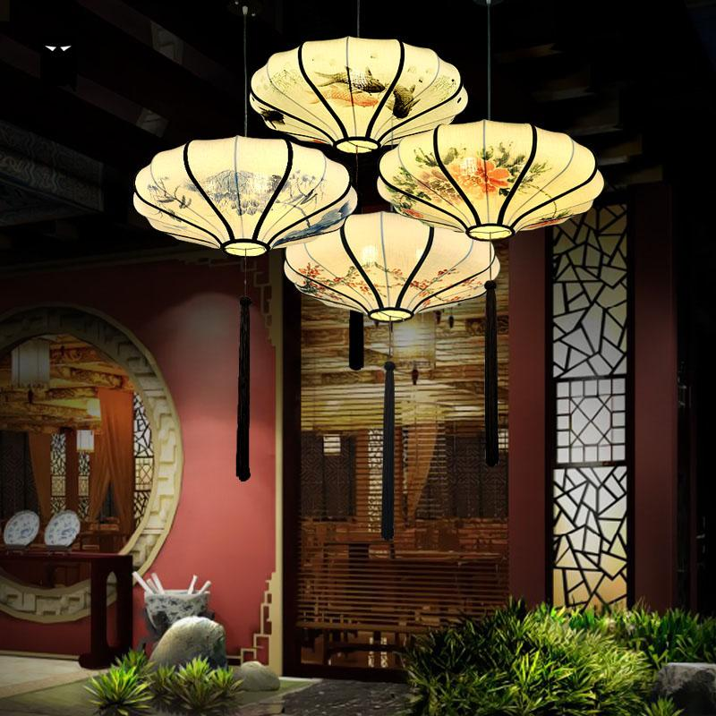 Hand Painting Round Iron Fabric Lantern Shade Pendant Light Fixture Chinese Style Foyer Dining