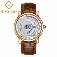 PRINCE GERA ผู้ชายที่ไม่ซ้ำกัน Dial ของแท้หนังแท้นาฬิกาอัตโนมัติ Rose Gold Ultra Thin ผู้ชายกันน้ำผู้ชายนาฬิกา es