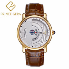 PRINCE GERA Mens Brown Leather Automatic Watch Rose Gold Ultra Thin Case Waterproof Calfskin Bands