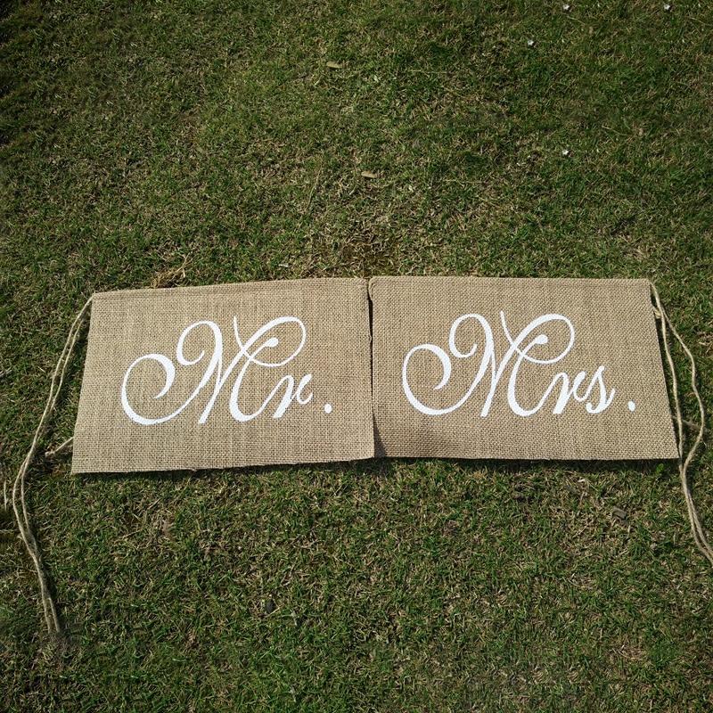 New Hot Sale 30 x 20cm Khaki Mr. & Mrs. Burlap Chair Banner Set Chair Sign Garland Rustic Wedding Party Decoration