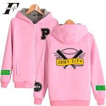 LUCKYFRIDAYF BTS ARMY.ZIP+ Winter Casual Brand Men Hoodies Women Hiphop Kpop Zipper Hoodies Thick Warm Pink Sweatshirt Plus 2017