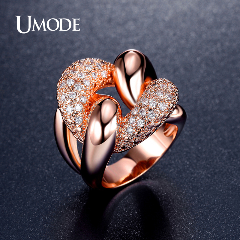 UMODE Punk Design Knot Shaped Micro simulated CZ Stone Paved Cocktail Ring Rose Gold Color Jewelry for Women Aneis Bijoux UR0341 punk style pure color hollow out ring for women