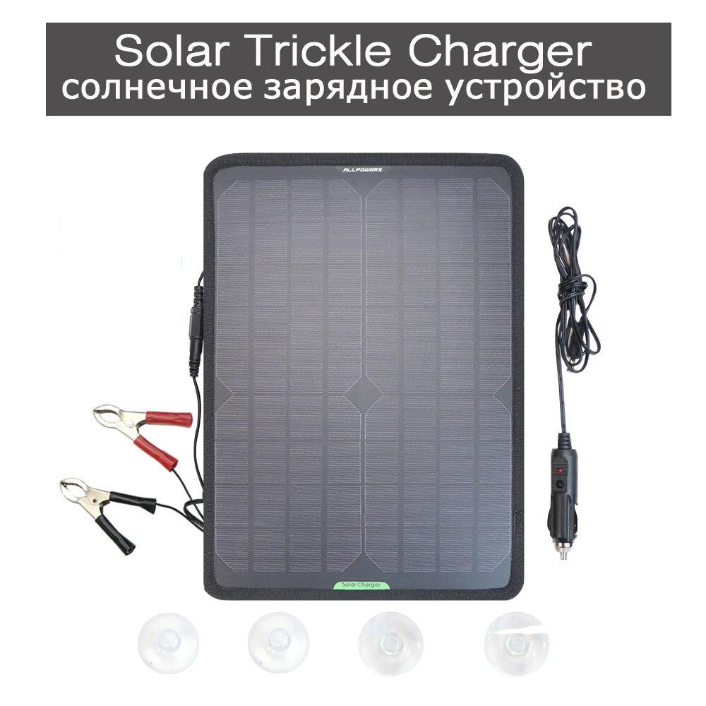 Chargeur de voiture solaire 12 V chargeur de filet solaire mainteneur pour batterie de véhicule 12 V batterie de moto avec Clips allume-cigare.