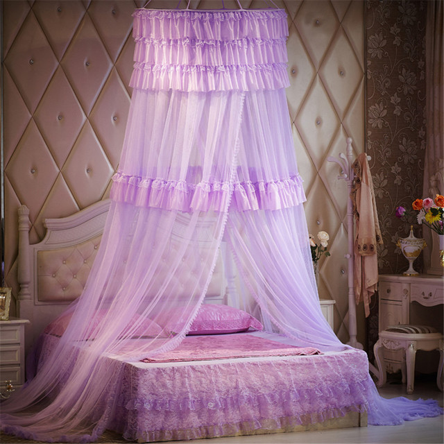 Luxury Romantic Hung Dome Mosquito Net Princess Students Insect Bed Canopy Netting Lace Round Mosquito Nets & Luxury Romantic Hung Dome Mosquito Net Princess Students Insect ...