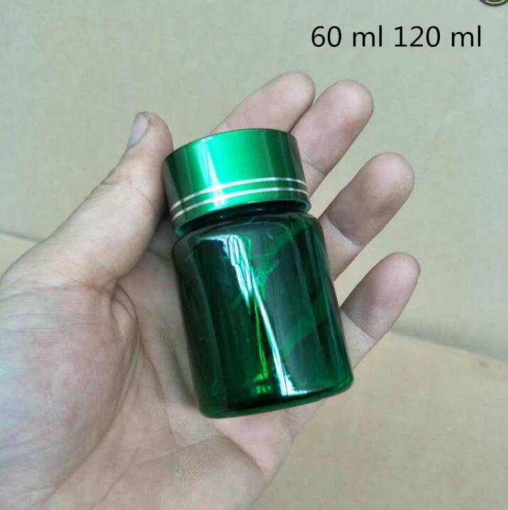 Free shipping <font><b>60</b></font> <font><b>120</b></font> ml g Green Blue Brown Pill Plastic Packing Bottles Powder Sample Empty Cosmetic Containers 50 Pcs Retail image