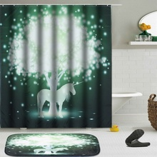 Fabric Forest Shower Curtain Bathroom Green White Tree Drape Waterproof  Mouldproof Polyester Bath Curtains Bath Mat