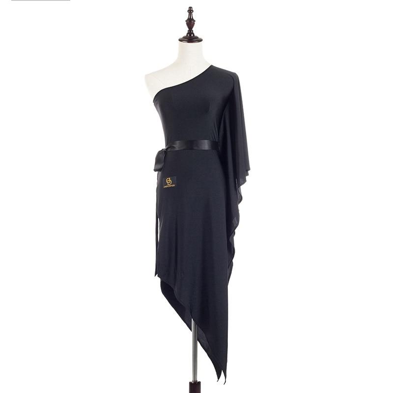 Hot Selling Latin Dance Dress For Ladies Black Silk Backless Skirt Beautiful Women Lady Fashionable India Ballroom Dresses 1066