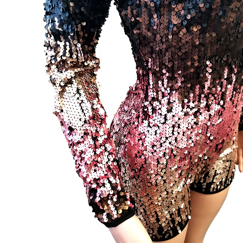 Adogirl Colorful Sequins Deep V Neck Playsuit Women Sexy Sheath Long Sleeve Night Club Party Jumpsuit Casual Overalls Rompers 97