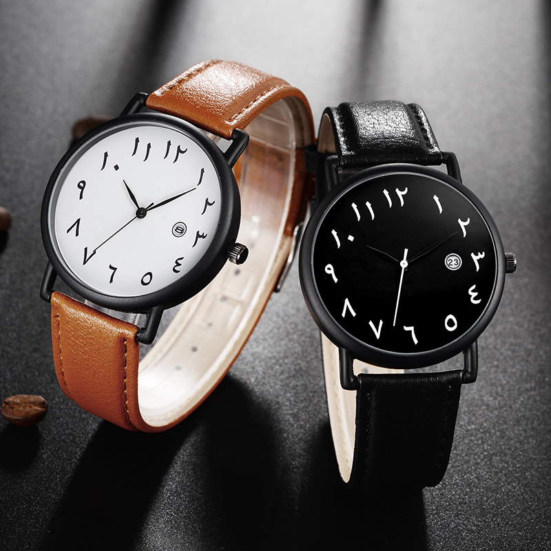 Arab Numbers Men Wristwatch Male PU Leather Couple's Brand Clock Masculino Big Dial White Face Dail Calendar Date Men Watch promoting social change in the arab gulf