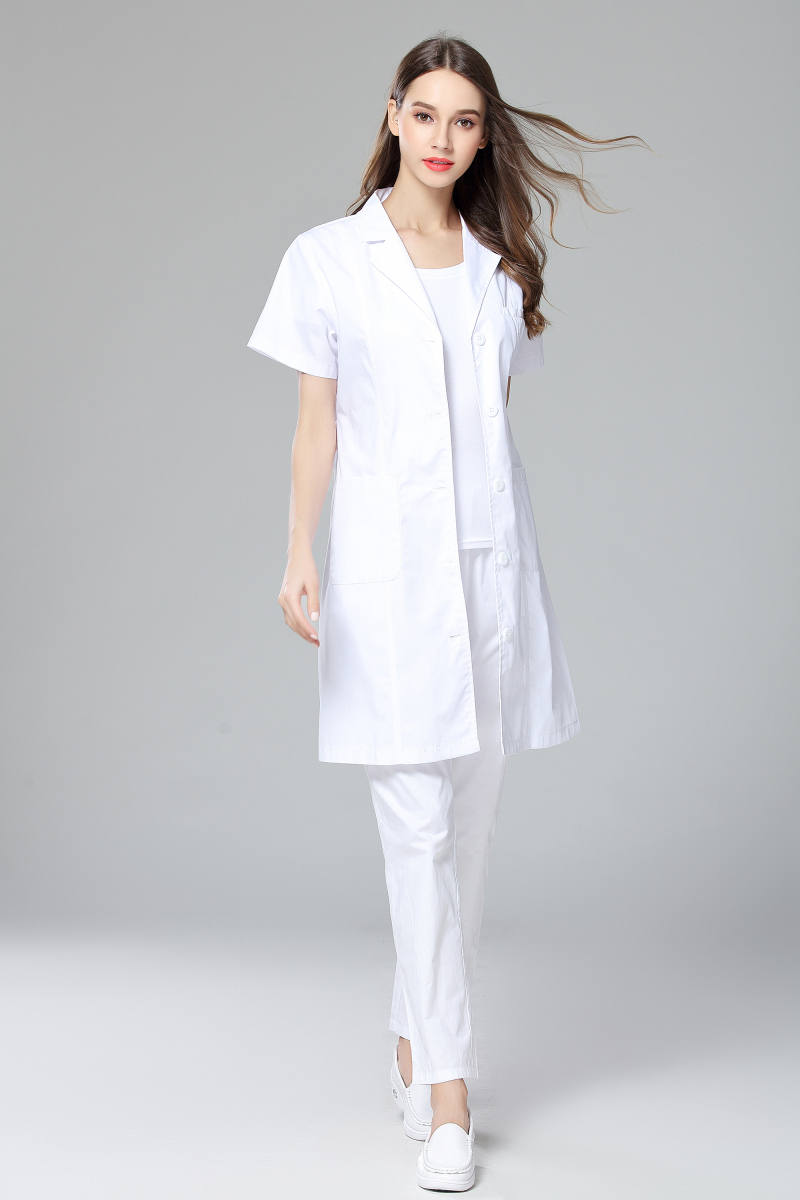 2017 New Doctor Labcoat Women's Summer Anti-wrinkle Short Sleeve Uniform Dental Clinic And Pet Hospital Doctor's White Coat