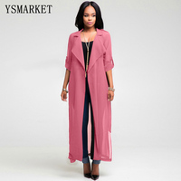 2017 Fashion Full Sleeve Trench Coat Pink Chiffon Duster For Women Woman Overcoat Outwear Causal Robe