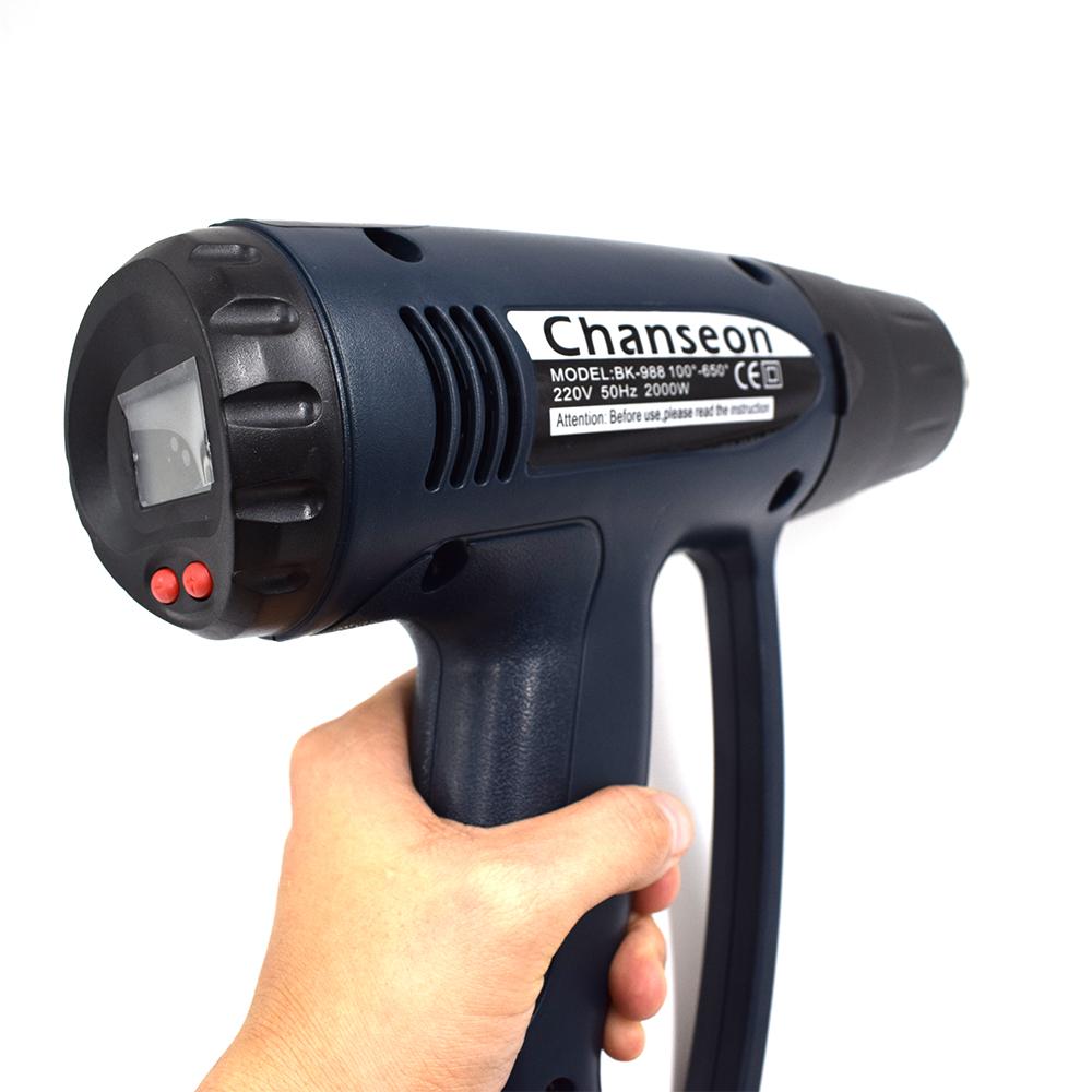 Chanseon 2000W EU Industrial Electric Hot Air Gun Thermoregulator LCD Display Shrink Wrapping Thermal Heat Gun Heater NozzleCha
