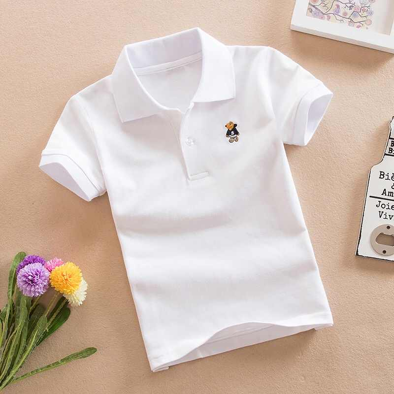 100%Cotton Boys Polo Shirts 2019 Summer Teenager Children's Short Sleeve Boys Polo Shirt Solid Colors Kids Boy Tops Tees Clothes