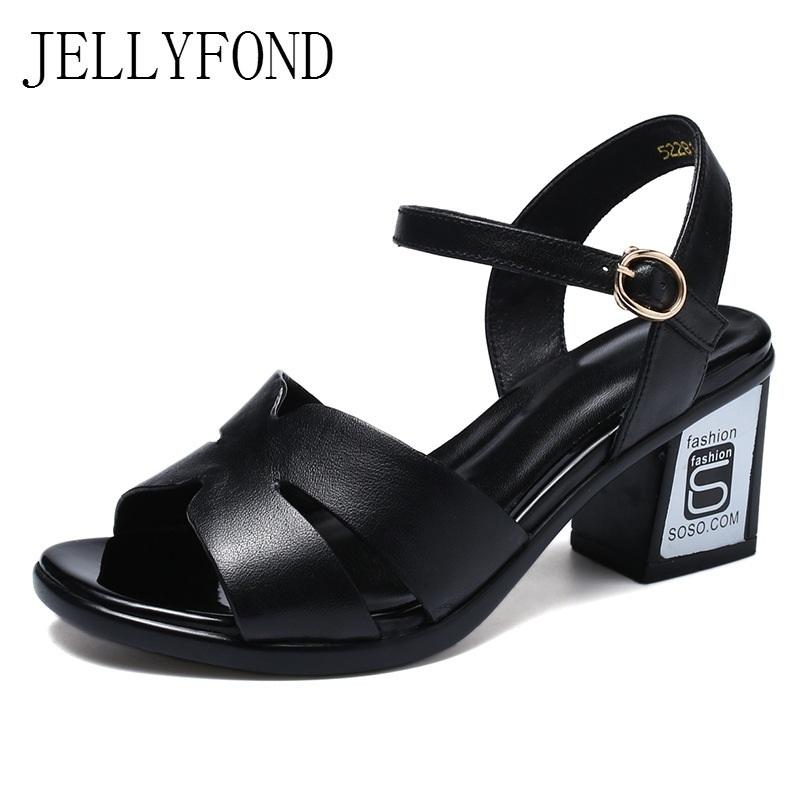 Zapatos Mujer 2018 Genuine Leather Gladiator Sandals Women Peep Toe Ankle Strap High Heels Sandals Summer Shoes Black White 2017 new summer fashion women casual shoes genuine leather lady leisure sandals gladiator all match ankle peep toe flowers
