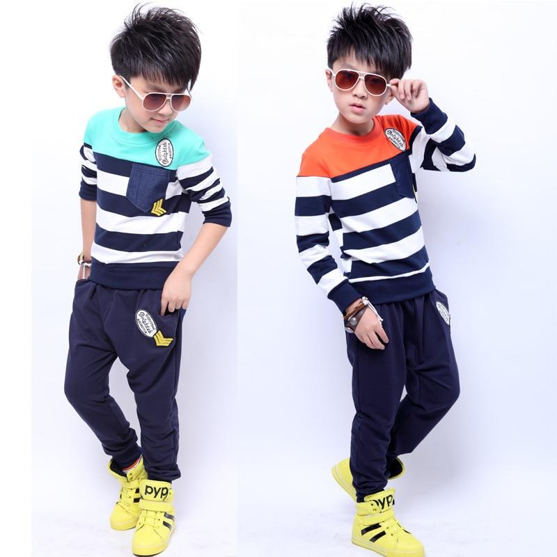 ФОТО Striped Kids 2015 Spring Autumn Korean Roupa Menino Cotton Piece Fitted Big Virgin Kids Boy Clothes 6-15T Motion Striped Kids