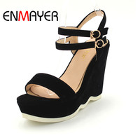 Plus Size39 Concise Women Sandals Summer Peep Toe Ankle Strap Platform Wedges Female Bordered White Shoes