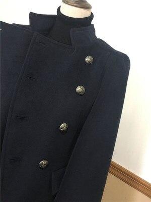 À Automne Mode Double Lâche Femmes Laine Style Boutonnage 2018 Couleur Veste Pure Nouvelles De Manteau Militaire Hiver ROdxccZqw7