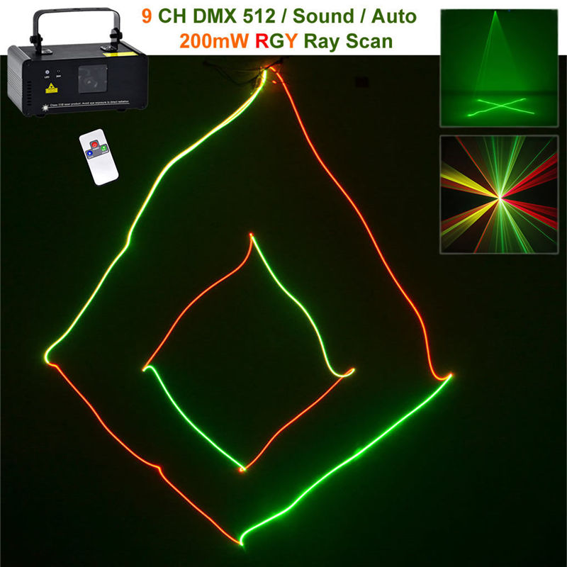 Mini 200mw RGY Red Green Mix Yellow Wireless Remote DMX Laser Stage Lighting Scanner DJ Dance Party Show Projector Lights RGY200