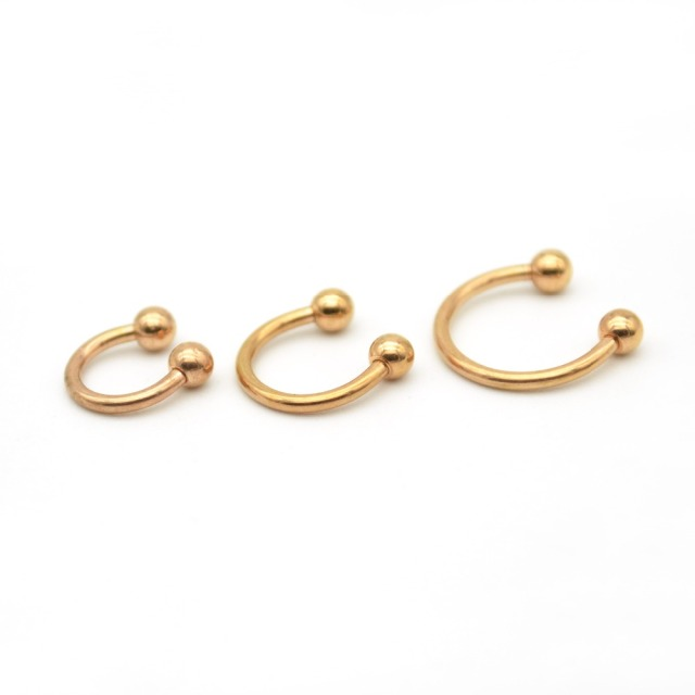Rose Gold Horseshoe Ring Labret Lip Rings With Ball Circular Barbell Nose Hoops Septum Piercing 316l