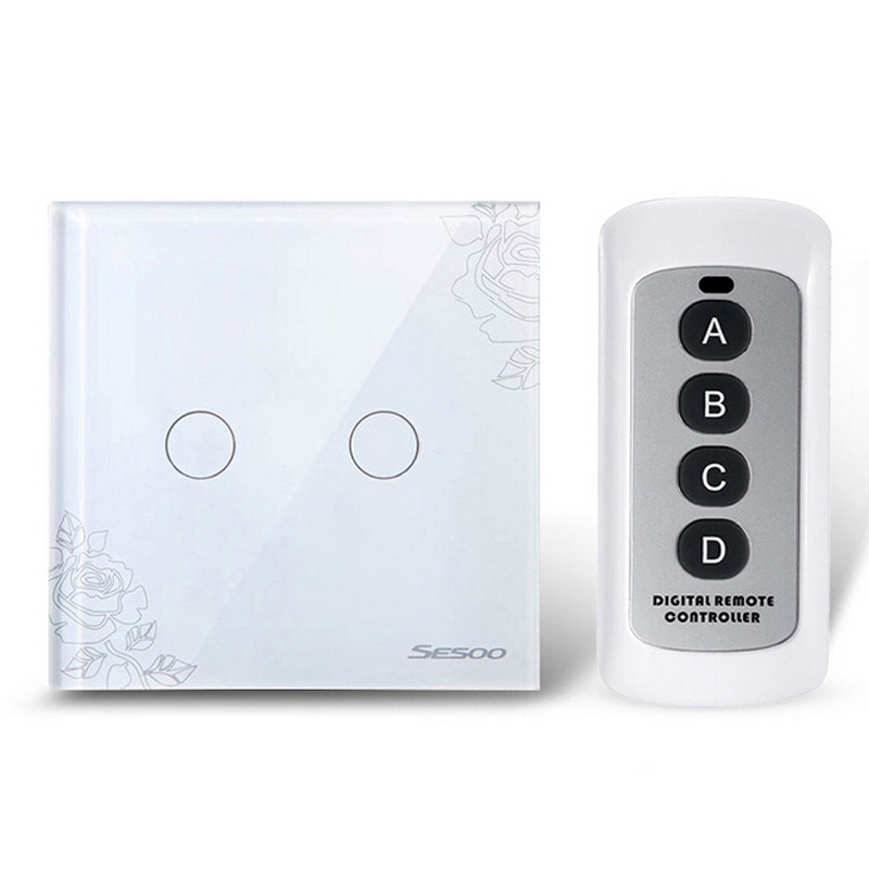 EU/UK Standard Remote Control Light Switches 2 Gang 1 Way Crystal Glass Panel Remote Touch Wall Switches for Smart Home New smart home eu standard 1 gang 2 way light wall touch switch crystal glass panel waterproof and fireproof