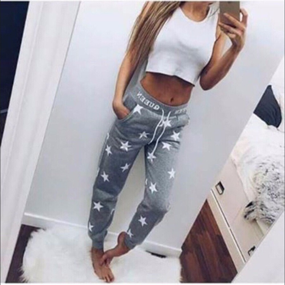 Women Jogging Pants Star Printed Lady Bottoms Waistband Tracksuit Drawstring Jogging Joggers Pants Pink Grey trousers 2 Color tights