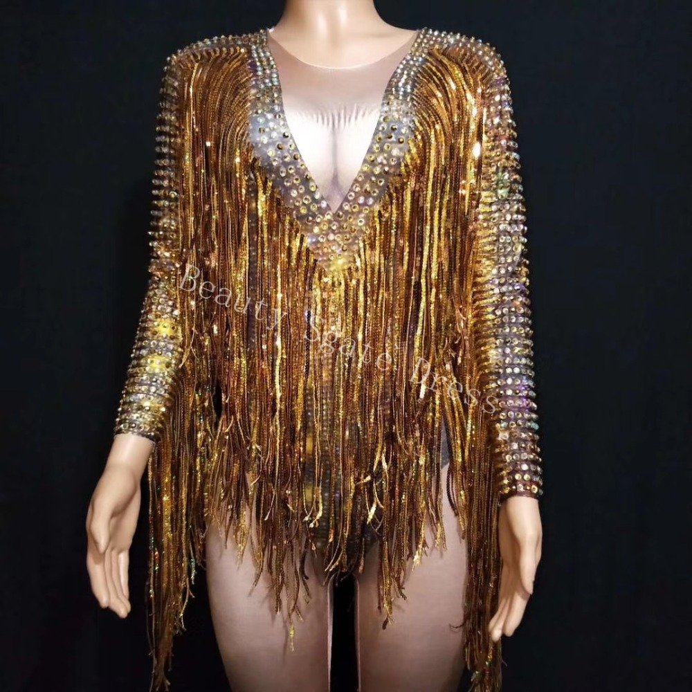 Bright Gold Rhinestones Tassel Spandex Jumpsuit Women Dance Birthday Celebrate Bar Big Stretch Jumpsuit Singer Costume Outfit in Jumpsuits from Women 39 s Clothing