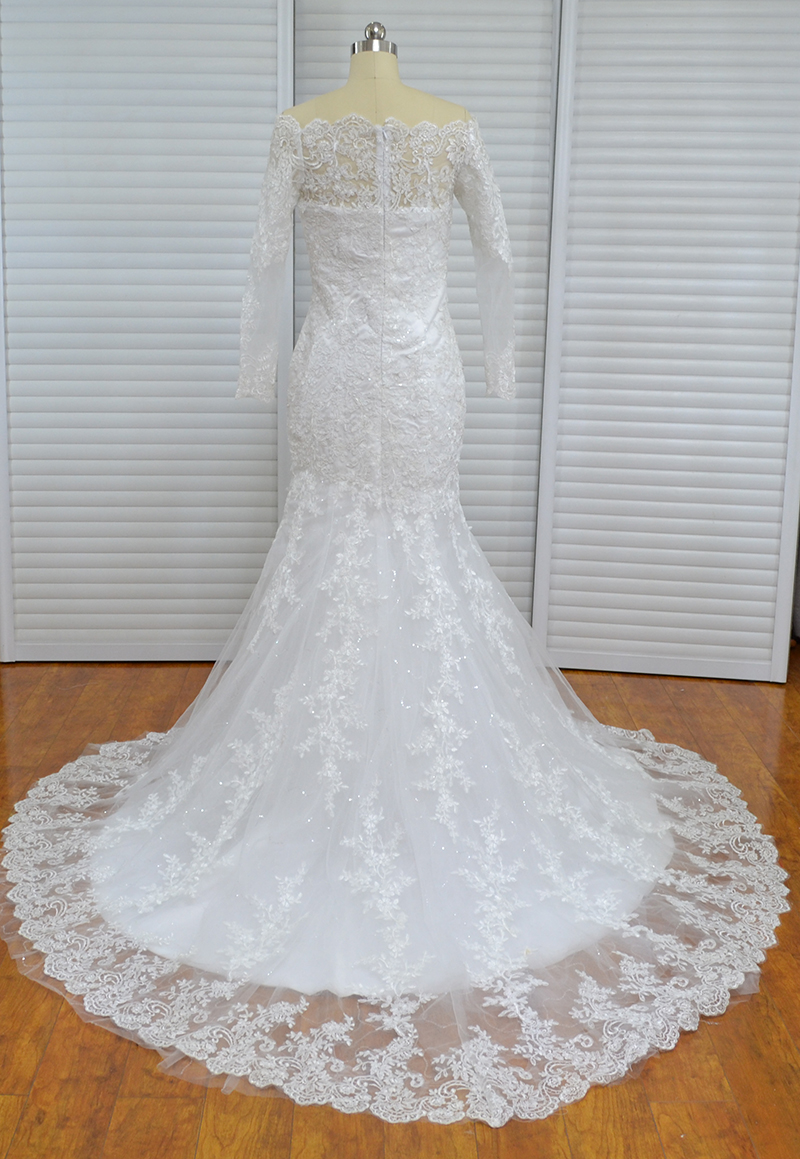 Único Sereia Alta Neck Apliques Vestidos de Casamento Do Laço Do Vintage Mangas Compridas vestido de Noiva Praia Mulheres Vestido Africano - 3