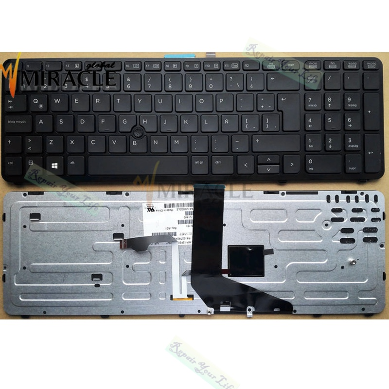 Laptop Keyboard For HP zbook 15 zbook 17 Black With Frame and backlit  la sp latin Original keyboard mp-12p26laj698w pk130tk2a24 ガーミン ストライカー プラス 7sv