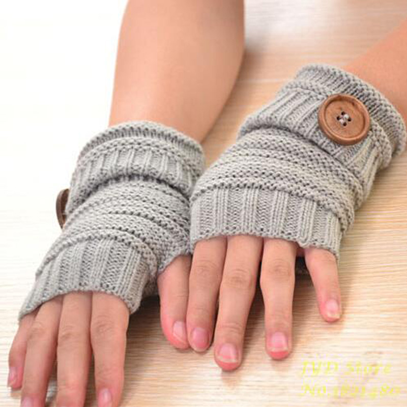 CUHAKCI Women Winter Mittens Fingerless Gloves Button Wrist Warm Knitted Soft Mittens Ladies Gifts Half Finger Gloves 9 Colors