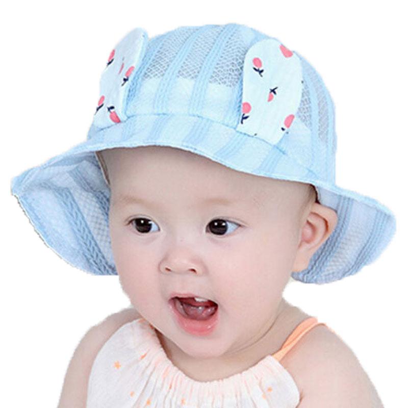 Unisex child Dome sun bonnet Ear Hat Baby Solid Mesh sunbonnet Sun Protective Cap Kids chapeau MZ5860