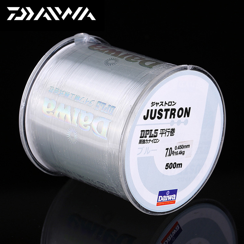 DAIWA 500 mt Super Starke Daiwa Justron Nylon Angelschnur 2LB-40LB 7 Farben Japan Monofilament Wichtigsten Linie mit kunststoff Box