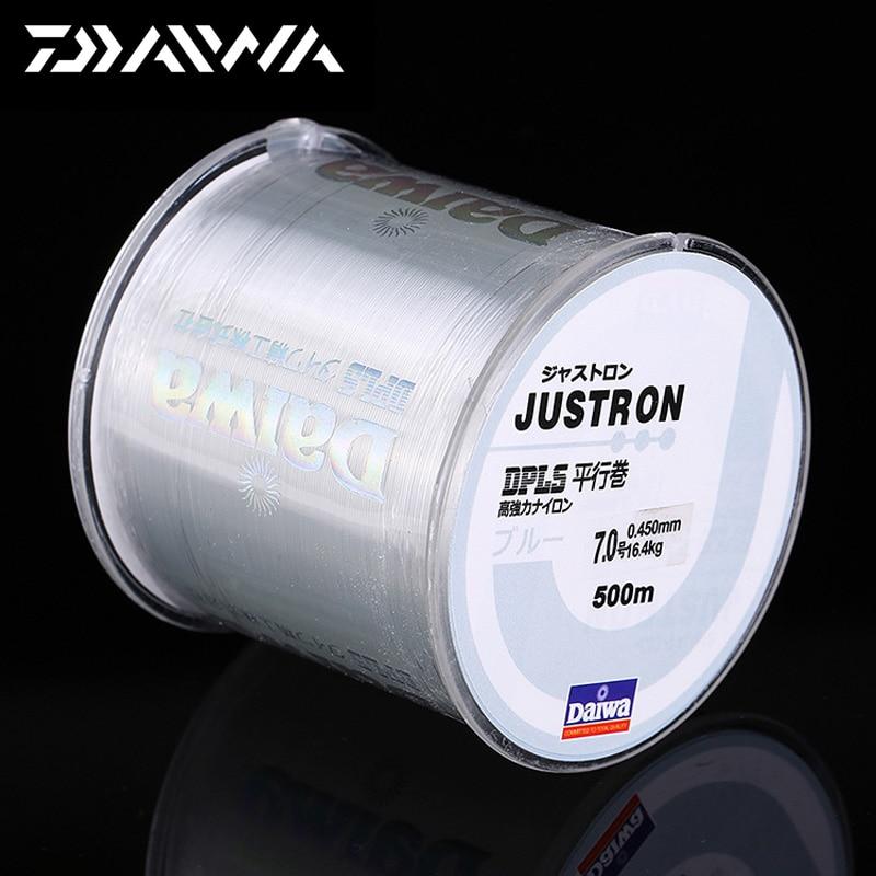 DAIWA 500 mt Super Strong Daiwa Justron Nylon Angelschnur 2LB-40LB 7 Farben Japan Monofilament Hauptlinie mit Kunststoff Box