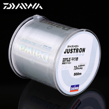 DAIWA 500m Super Strong Daiwa Justron Nylon Fishing Line 2LB - 40LB 7 Colors Japan Monofilament Main Line with Plastic Box daiwa 100m super strong nylon fishing line 2lb 40lb 2 colors japan monofilament fluorocarbon fishing line for carp