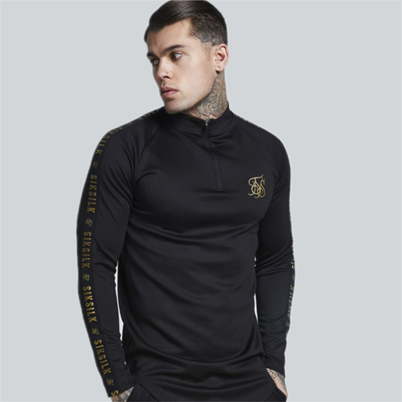 New Fashion Men 39 s Stretch T Shirt Solid Color army green high elastic Zipper collar Long Sleeve Slim male Casual black T Shirt in T Shirts from Men 39 s Clothing