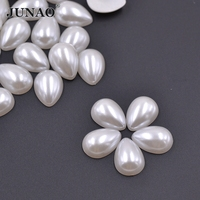 6 10mm Ivory Color Drop Half ABS Pearl Beads Flatback Scrapbook For Jewelry Craft Clothes Decorations