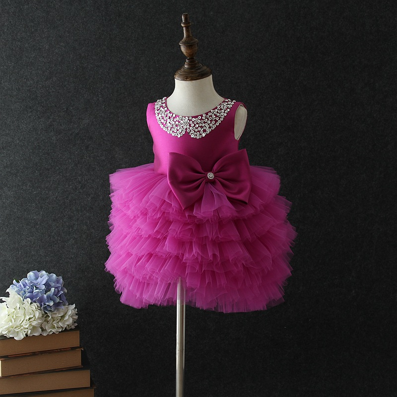 Children Clothes for Girls Christening Tutu Dress Baby Sequin Pearls Sleeveless Evening Dresses for Girs Perform Party Lace Gown