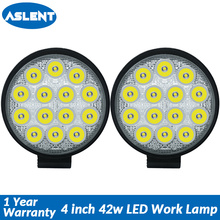 Aslent 4 inch 42W 4200lm Round Led Work Light Bar Spot lamp Headlight For Jeep ATV UAZ SUV 4WD 4x4 Truck Tractor Offroad 12v 24v 40w 5 inch led work light 12v 24v round offroad auto suv 4x4 truck atv 4wd awd motorcycle tractor reverse lamp headlight x1pc