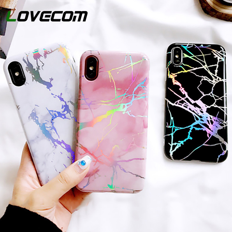 LOVECOM Fashion Laser Marble Texture Phone Case For iPhone XR XS Max X 6 6S  7 8 Plus Soft IMD Protective Phone Back Cover Coque 74b5267260b1