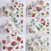 nail stickers Flowers Plants Fruits Decal Cat Pattern 3D Manicure  Art