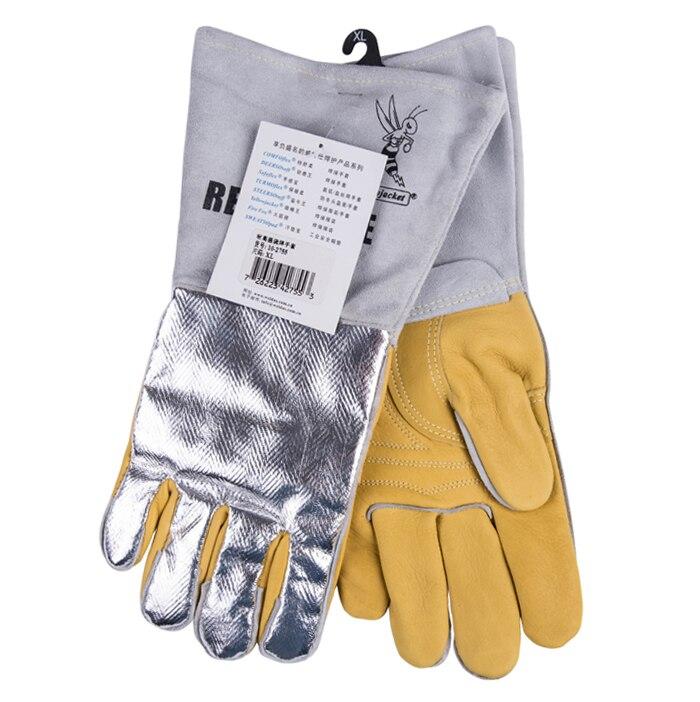 Кожаные перчатки сварочные 350 градусов Цельсия 662F термостойкие для барбекью защитные перчатки из коровьей Алюминий Фольга Светоотражающие