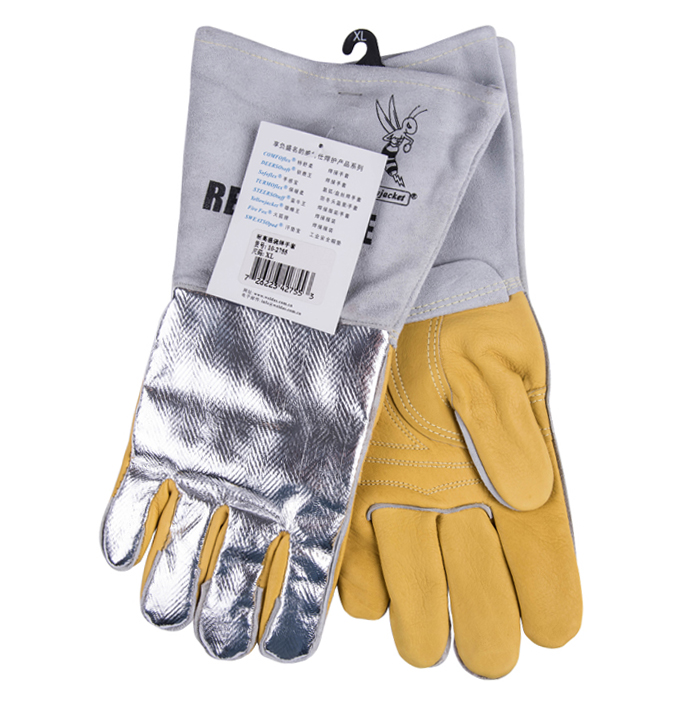 Leather Welding Gloves 350 Degree Celsius 662F Heat Resistant BBQ Safety Gloves Cow Aluminum Foil Reflective Hot Oven Work Glove 932f high temp heat resistant welding gloves bbq oven firebreak aramid fiber work glove
