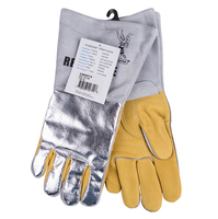 Leather Welding Gloves 350 Degree Celsius 662F Heat Resistant BBQ Safety Gloves Cow Aluminum Foil Reflective Hot Oven Work Glove