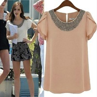 2014-Summer-New-Arrival-Fashion-Diamond-Shirts-Women-Short-Sleeve-O-neck-Chiffon-Blouse-White-Pink.jpg_200x200