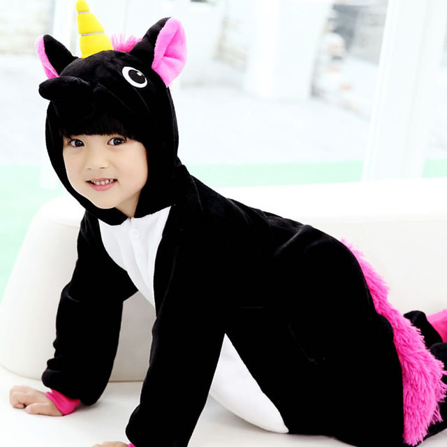 Children Cartoon Animal Black Purple Unicorn Onesie Pajamas Boys Girls  Costume Pyjamas Kids Cosplay pijama de unicornio infantil 63cb4670cd7a
