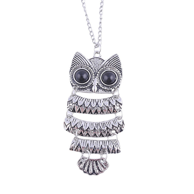 Lady Ethnic Owl Pattern Pendant Necklace