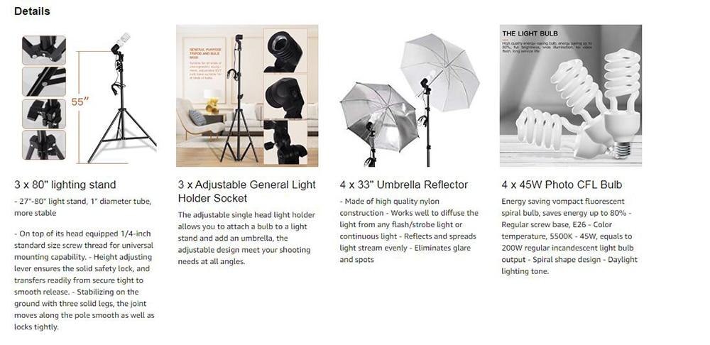 Photo Studio Adjustable Umbrella Holder Light Bulb Socket with Universal Mount
